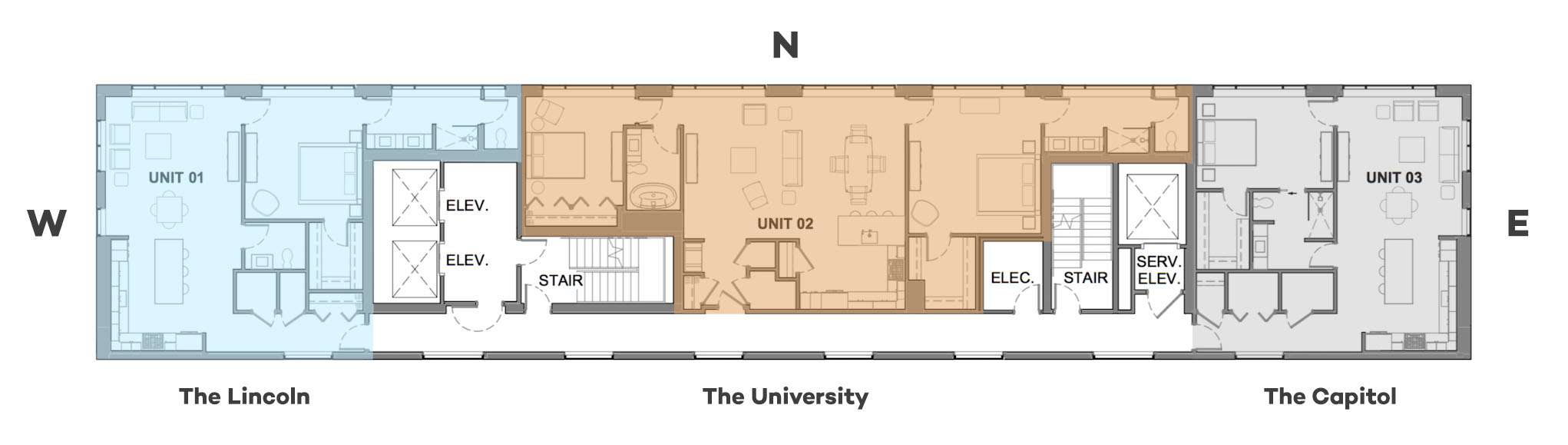 the layout of the three units at Lied Place Residences
